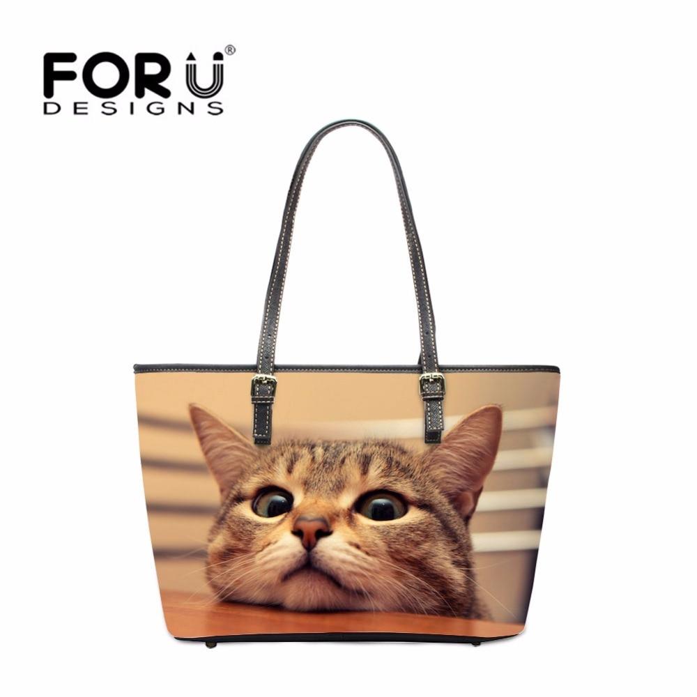 FORUDESIGNS mignon chat femmes PU cuir sacs à main grande femme fourre-tout sacs à bandoulière Designer dames adolescent filles fête sacs à main