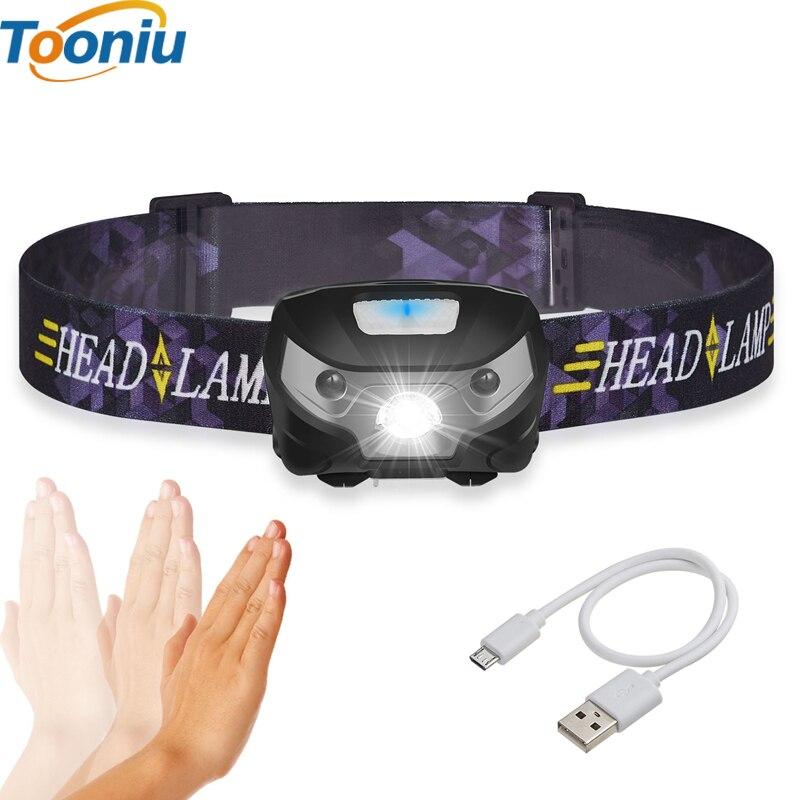 3000LM Mini Recarregável LEVOU Farol Body Motion Sensor LED Cabeça de Bicicleta Luz Lâmpada de Acampamento Ao Ar Livre Lanterna Com USB