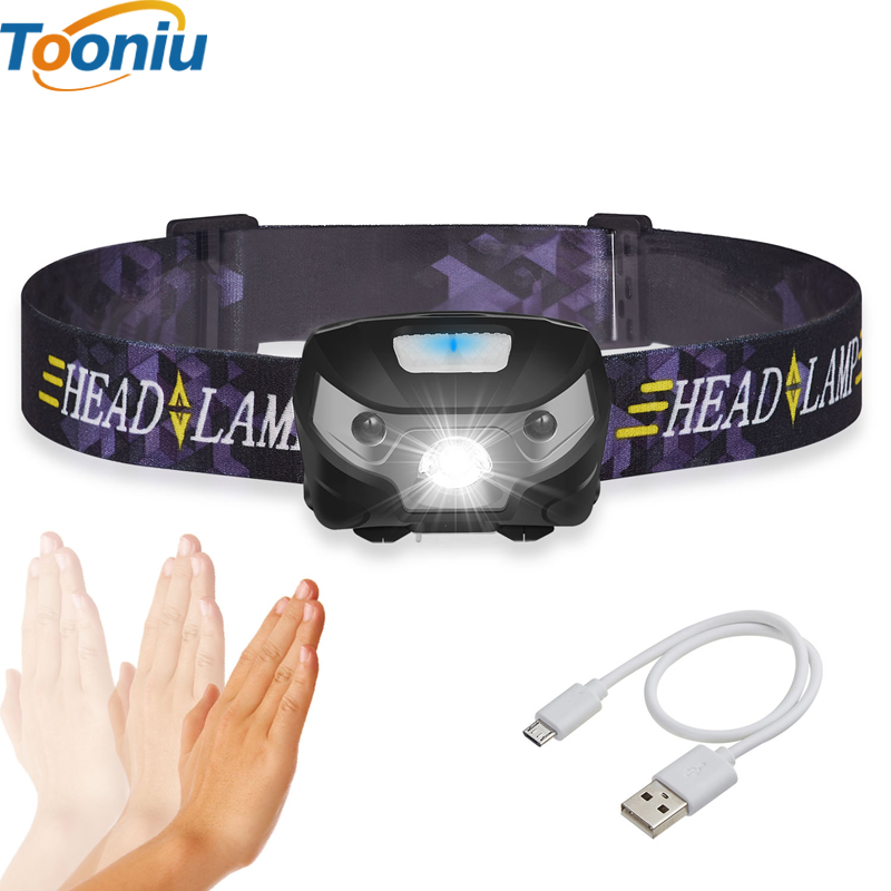 3000LM Mini Rechargeable LED Headlamp Body Motion Sensor LED Cykelhuvud Lampa Utomhus Camping Ficklampa Med USB