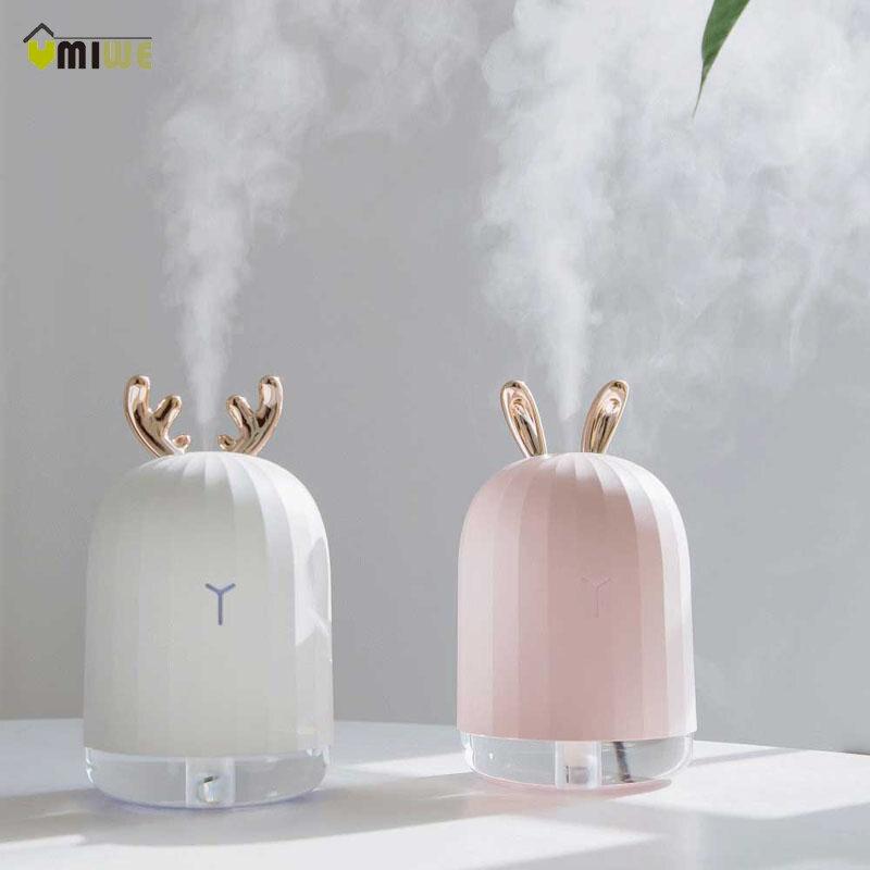 220ml Elk Rabbit Nano Atomizer Humidifier Night Light USB Charging Aromatherapy Essential Oil Diffuser Mist Maker Air Purifier