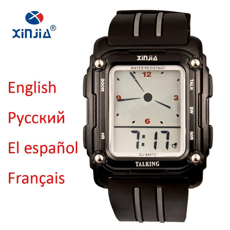 2017 New Talking Watch Sport Men Waterproof Alarm Big Screen Simple Speak Spanish Russian English French For Blind People Clock