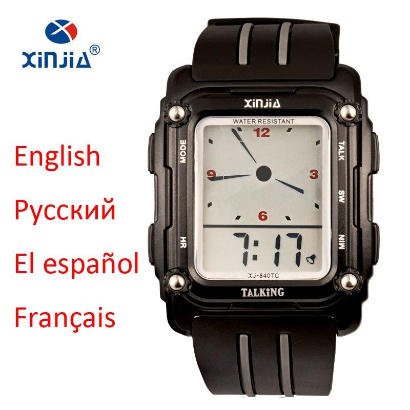 2017 Nuevo reloj parlante deportivo alarma impermeable pantalla grande Simple hablar español ruso inglés francés para Ciegos reloj