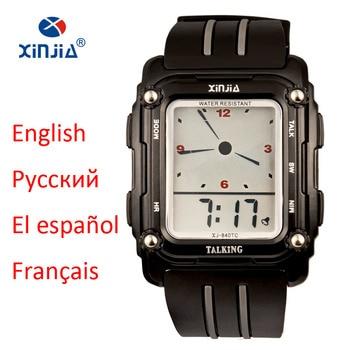 2020 New Talking Watch Sport Men Waterproof Alarm Big Screen Simple Speak Spanish Russian English French For Blind People Clock - sale item Men's Watches