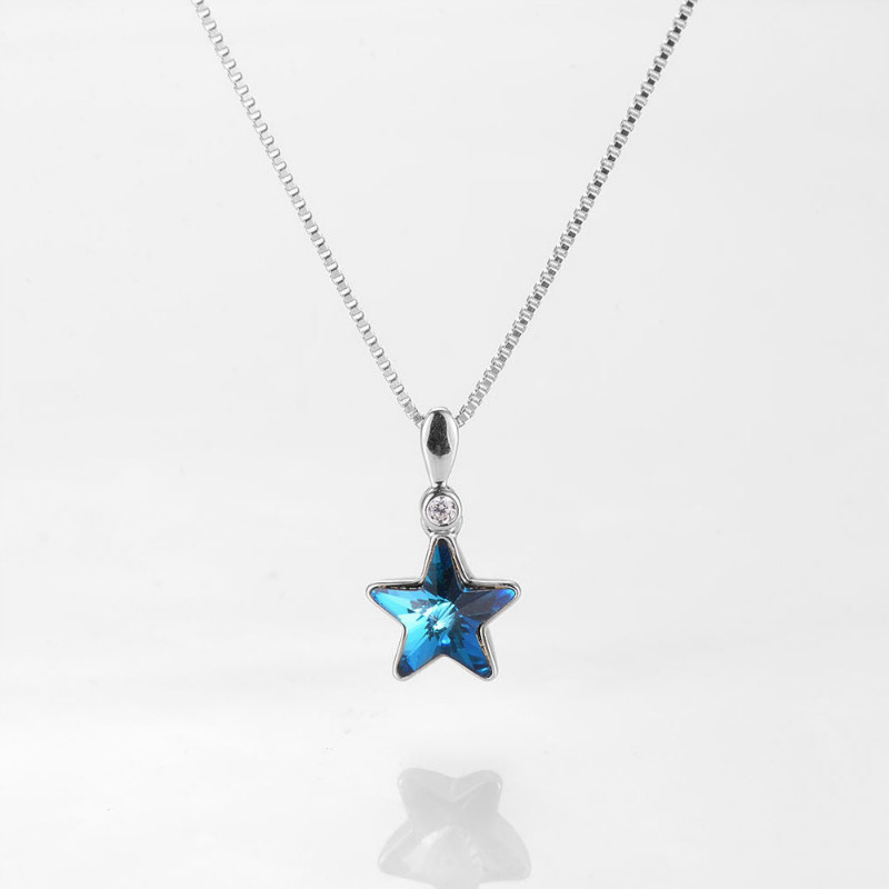 925 Sterling Silver Necklace Blue Star Choker Chain Charm Pendant Necklace Zircon Necklace Silver Jewelry Love Gift
