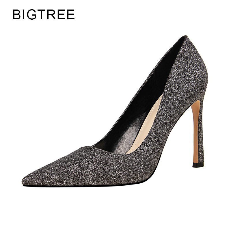 34-39 Sexy Party Pumps High Heels Women Pumps Champagne Gold Sliver Bling 2018 Spring Pointed Toe Basic Ladies Thin Heels Shoes lucyever fashion buckle crystals bling pumps women elegant thin high heels point toe party wedding shoes woman glod sliver black