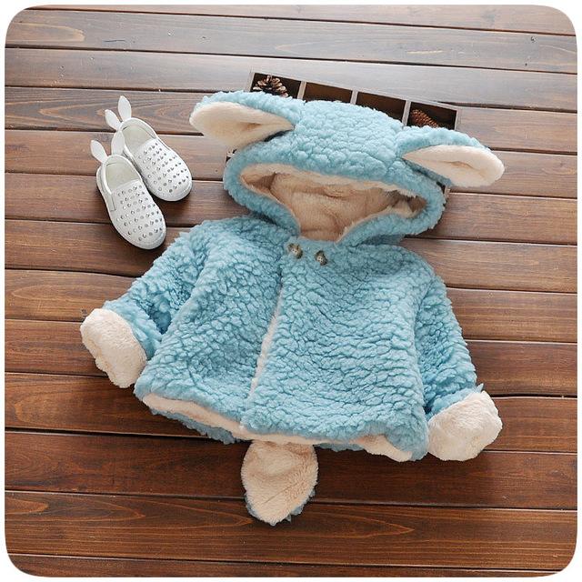 Bebé Del invierno Parka Plus Grueso Terciopelo de los Bebés de Nieve Desgaste bebé Niña Prendas de Vestir Exteriores Abrigo de Un Botón de Estilo Conejo Muchachas Del Niño ropa