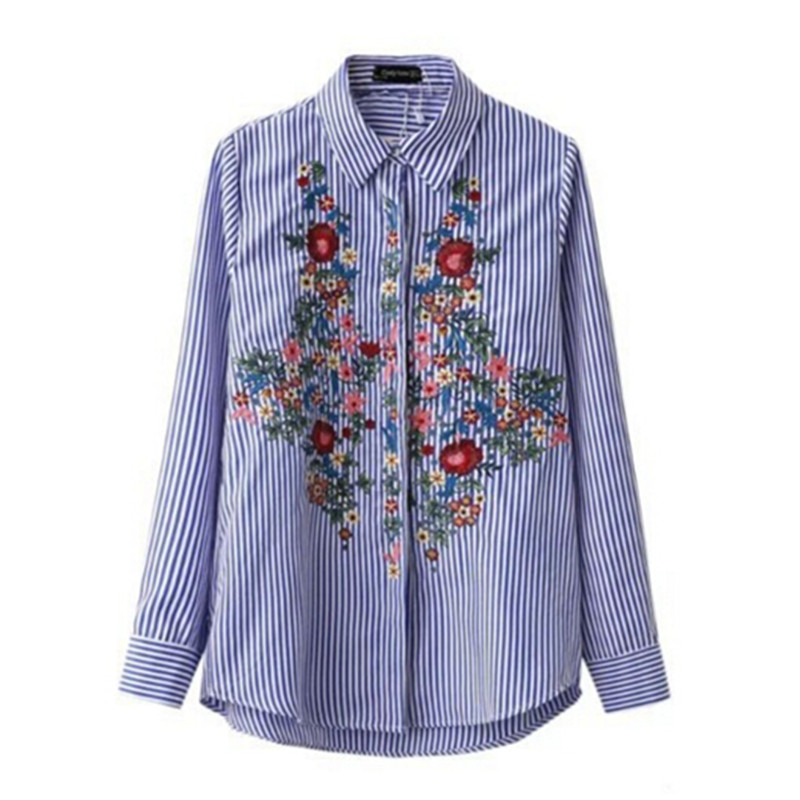 Aliexpress.com : Buy 2017 Blue White Striped Print Flower ...