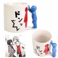 220ml Glass Glassware Spoof Boys Girls Kabe Don Cup With Handgrip Tea Coffee