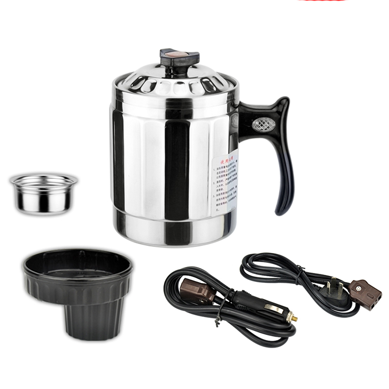 цена New Car heating cup 12v heating cup Electric Kettle Cars Thermal Heater Cups Boiling Water bottel Auto accessories 1000ML+Cable