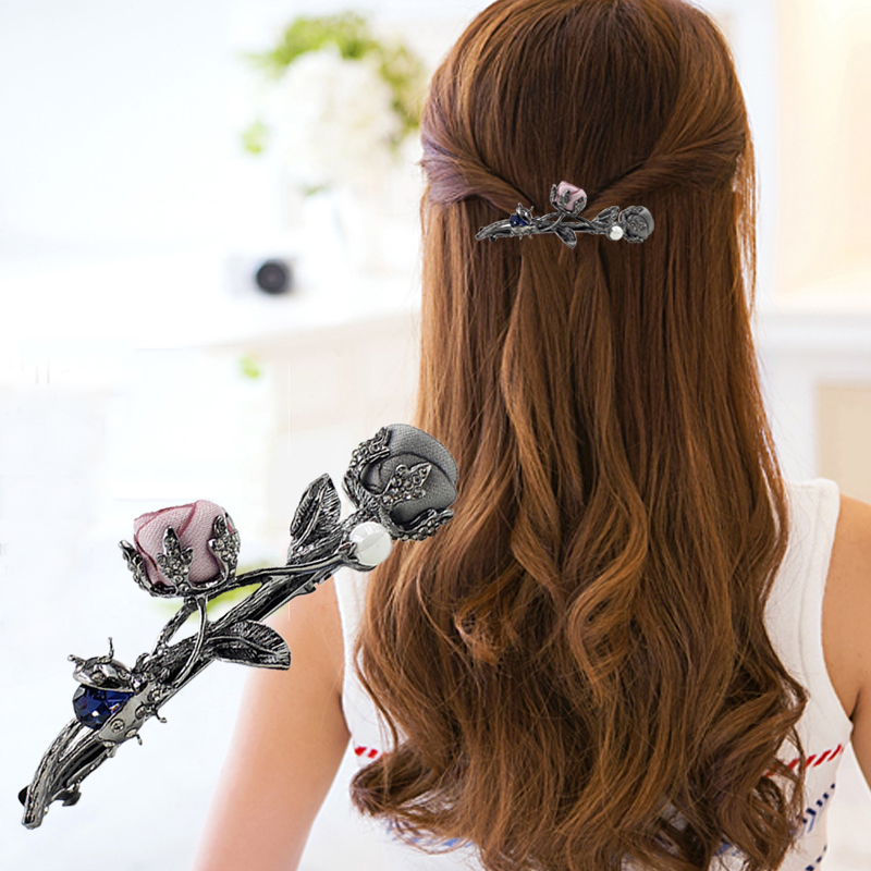 2017 New Luxury Crystal Hair Clip Stereoscopic Flower Ladybug Headwear Jewelry Women Girls Elegant Barrettes Hair Accessories