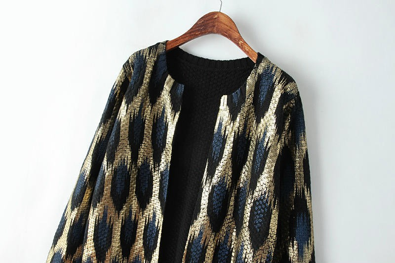HTB1Ih6AJFXXXXXLXpXXq6xXFXXXf - 2015 Autumn New The peacock printing Knitting Long Cardigan Ladies Sweater Women Coat Outwear Snake Pattern Bronzing Tops