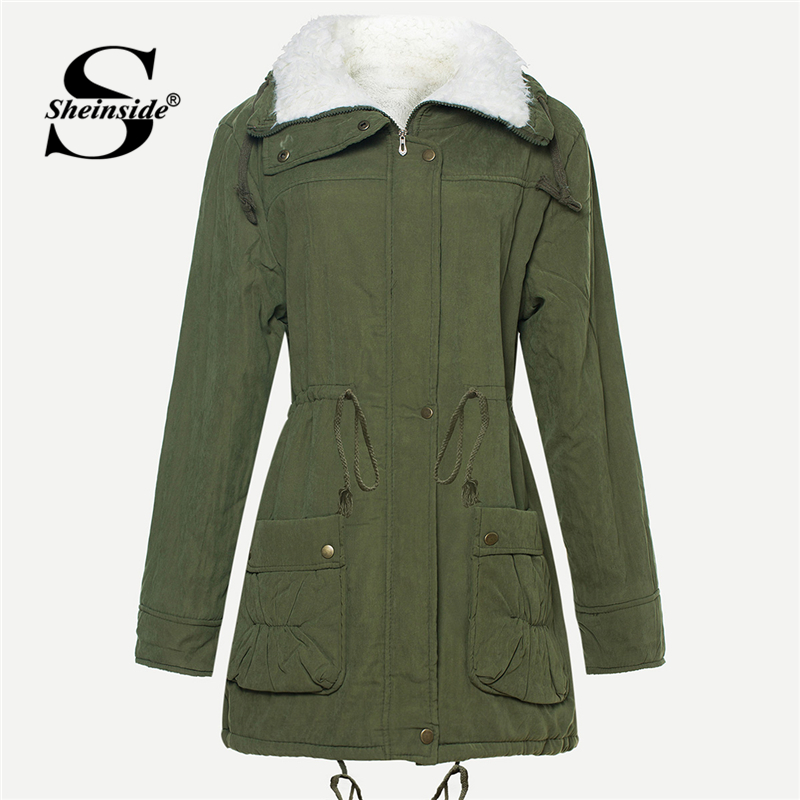Sheinside Army Green Drawstring Waist Faux Fur Lined Coat Women Clothes 2018 Thick Winter Outerwear Womens