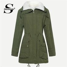 Sheinside армейский зеленый шнурок талии искусственный мех подкладке пальто для женщин одежда 2018 Толстая зимняя верхняя для