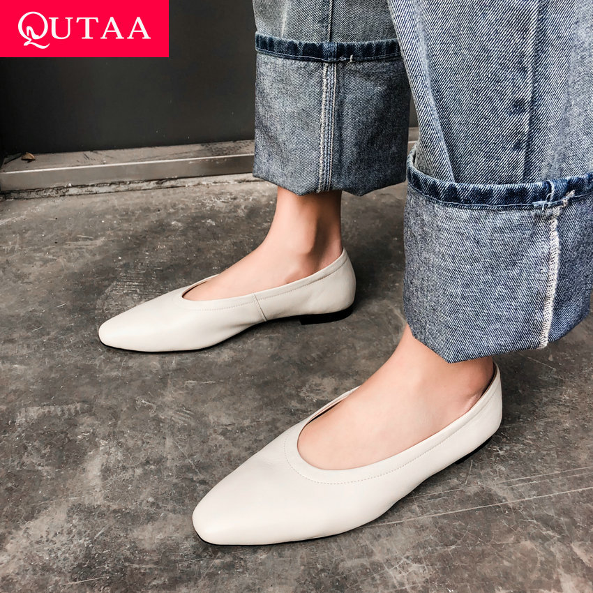 QUTAA 2019 Woman Shoes Genuine Leather Flat Heel Basic Slip on Pointed Toe Casual Concise Soft