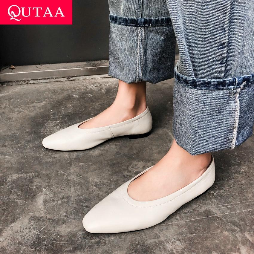Qutaa 2019 여성 신발 정품 가죽 플랫 힐 기본 슬립 지적 발가락 캐주얼 간결한 부드러운 얕은 단일 신발 크기 34 40-에서여성용 플랫부터 신발 의  그룹 1
