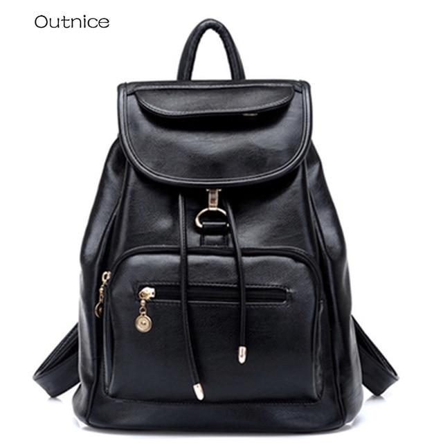 0f52c7cf44a8 рюкзак женский кожаный Стильный Черный рюкзаки для девочек подростков  портфель в школу ранец портфель школьный для