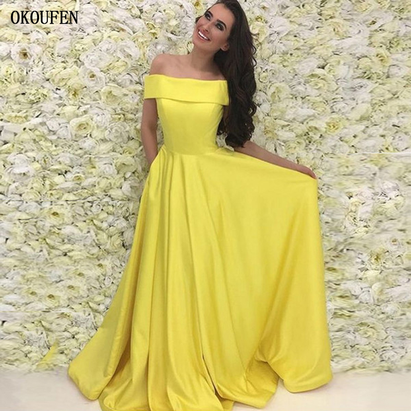 Yellow Prom Dresses 2019 Simple A-line Off the Shoulder Formal Ball Wedding Party Gowns vestidos de fiesta robe de soiree gala