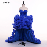 Royal Blue/Black/Ivory/Red/Champagne Front Short Long Back Sweetheart Sleeveless Ruffles Feather Prom Dresses Evening Dress 2018