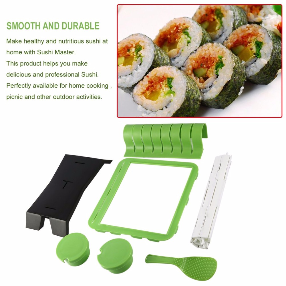 DIY Roll Sushi Mold Mould Set Cooking Tools Home Kitchen Dinner Healthy Sushi Maker Kit Rice Mold Making Set