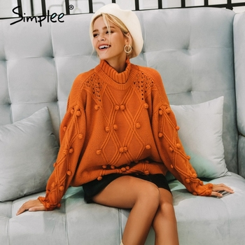 Simplee свитер с воротником для женщин пуловер выдалбливают трикотажные свитеры для 2018 Осень Зима Мода длинным рукавом повседне