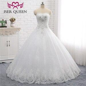 Image 2 - Kapalı omuz nakış dantel düğün elbisesi es güzel kristal boncuk topu cüppe şeklinde gelinlik düğün elbisesi moda kat uzunluk WX0006