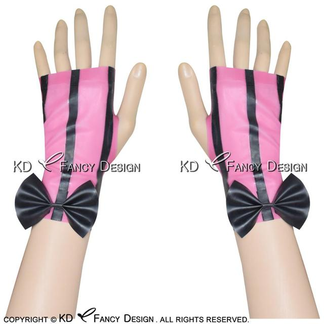 Pink With Black Stripe  Sexy Fingerless Short Latex Gloves With Bows Rubber Mittens ST-0019