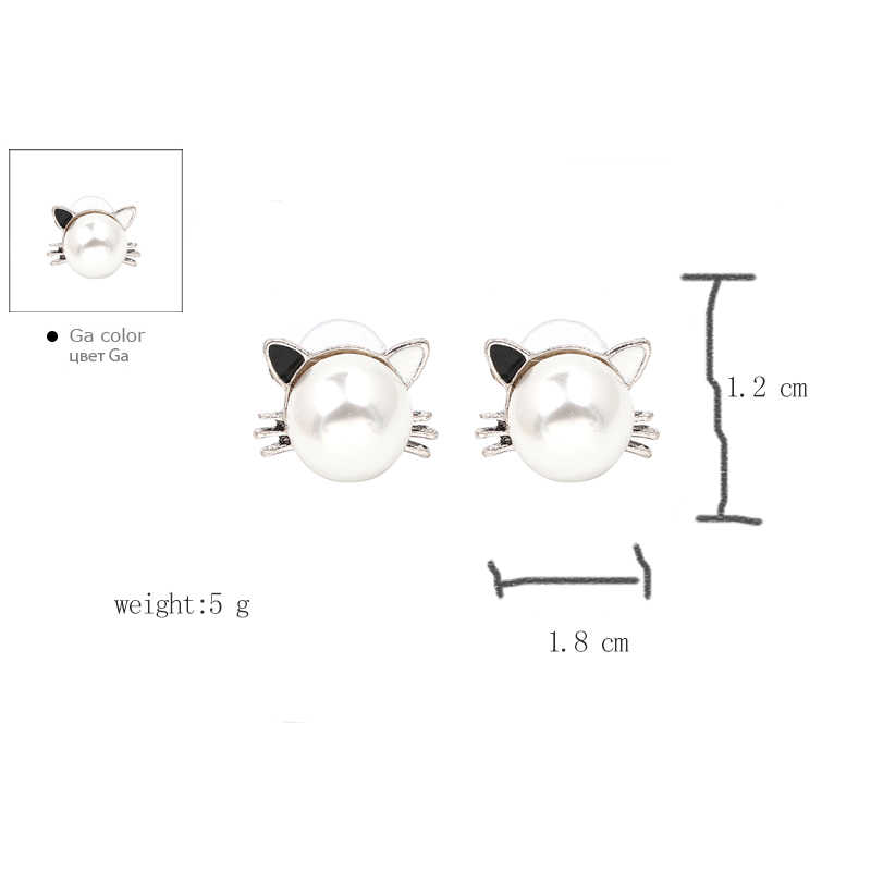 7966aaac4ee80 Hello kitty stud earrings Oorbellen small cute pearl stud earrings for  women korean fashion aesthetic sweet jewelry