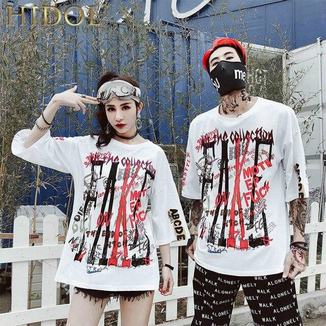 ceed800e Ins Hot Loose Oversize T-shirt Letter Graffiti Print T shirt Hip Hop  Streetwear Short