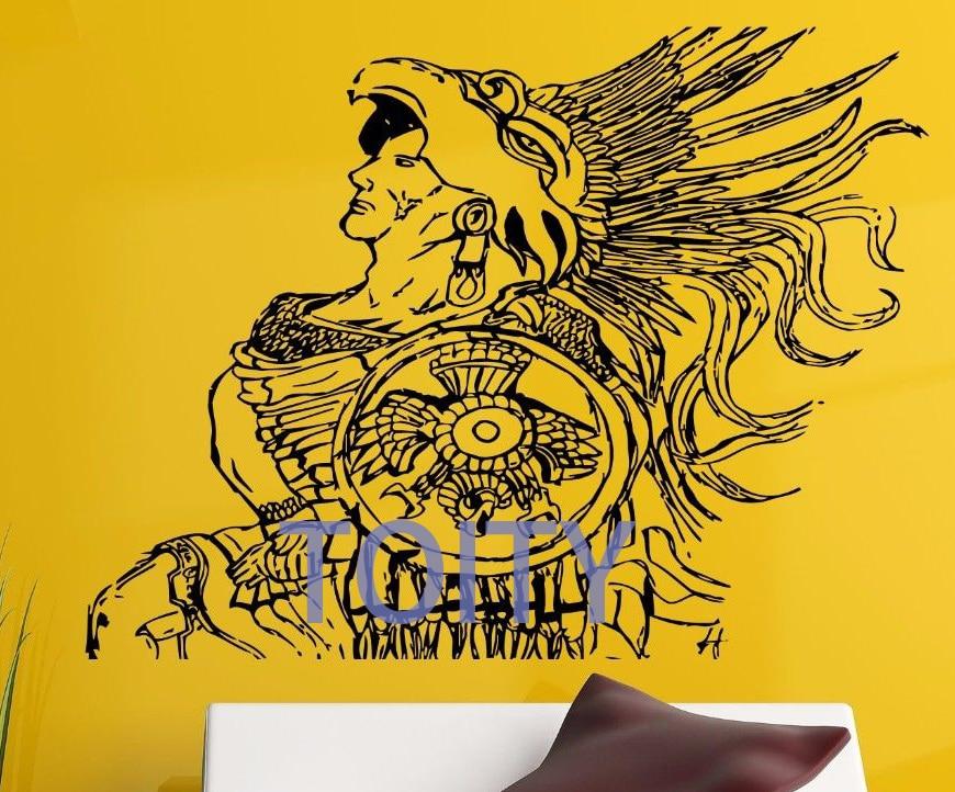 Wall Room Decor Art Vinyl Sticker Mural Aztec Warrior
