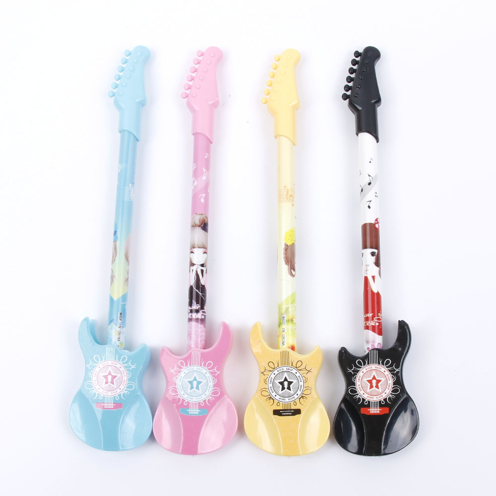 0.38mm Cute Kawaii Plastic Gel Pen Creative Guitar Novelty Pens For Kids Gift Korean Stationery 0 5mm black ink creative flute plastic gel pen cute kawaii candy color pens for kids korean stationery student 3168