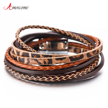 Amorcome Leopard Bracelets for Women Jewelry 2019 Handmade Braid Ladies Multilayer Wrap Leather Bracelet gorgeous multilayer knitted braid alloy cuff bracelet for women