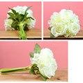 Rosa blanca ramo de novia de la boda barato artificial flores hechas a mano romántica buque de noiva accesorios de boda ramos de novia