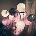 20 Balls/pcs Vintage Gray-Pink-Cream-White mixed cotton ball String Fairy lights Party home Patio wedding Romantic decor