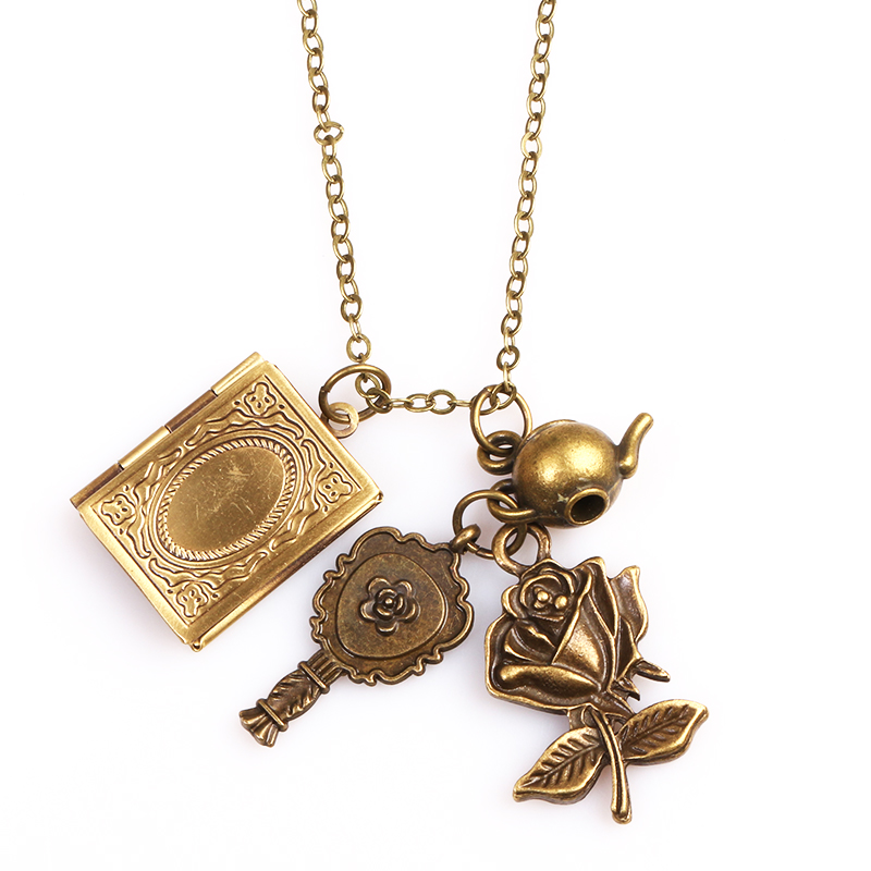 product 5 pc/lot Movie Beauty and the Beast necklece pendant Beauty Belle and Beast castle articles Roses and Pot 2style Wear method