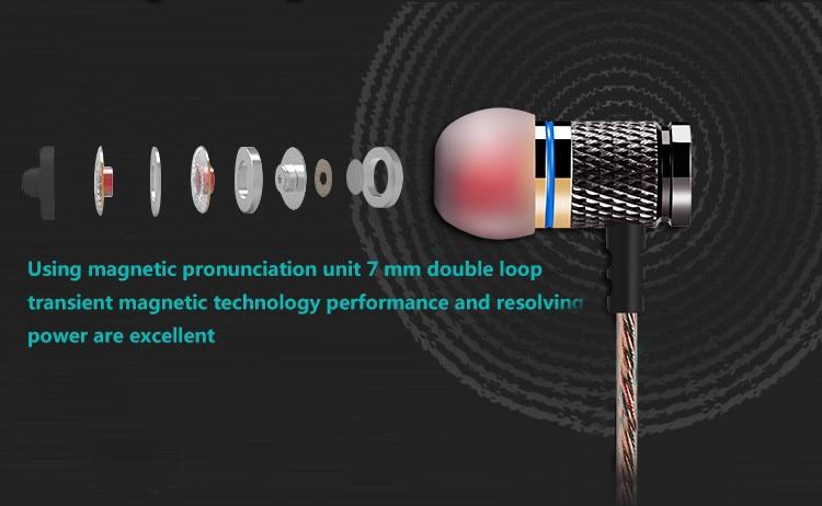 QKZ DM6 Earphones Enthusiast bass In-Ear Earphone Copper Forging 7MM Shocking Anti-noise Microphone Sound Quality fone de ouvido 10