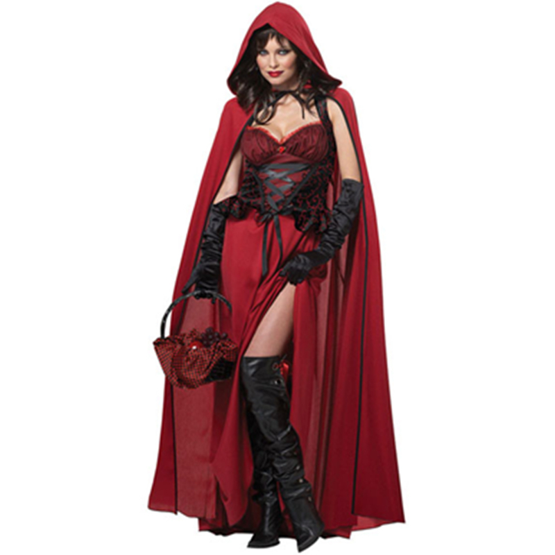 Incomparable Beauty 2015 Best Seller Long Cape Fairy Tales Story Dark Red Riding Hood Costume for Halloween Adult Girls L1303