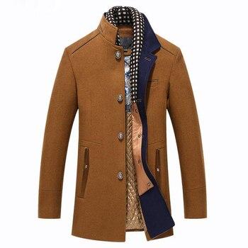 De lujo de los hombres chaqueta de Abrigo de lana de invierno de Abrigo Hombre larga Casual Slim Fit trinchera Jaket de pañuelo desmontable Abrigo