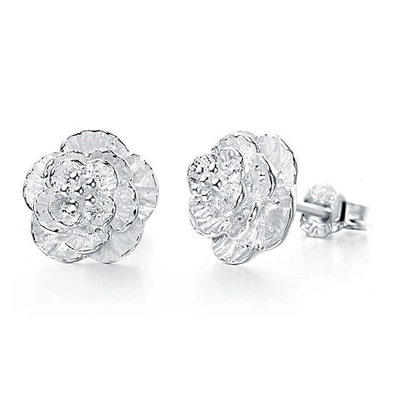 Sterling-silver-jewelry Earing Brincos Pendientes Mujer Earrings 925 Plata Flowers Ear Stud Earring For Women Boucle D'oreille