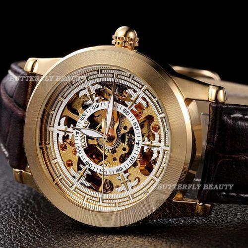 2015 NEW Fancy Automatic Skeleton Sport Gold Leather Men Black Men  Mechanical Wrist Watch relogio masculino relogio masculino a042f6a334db