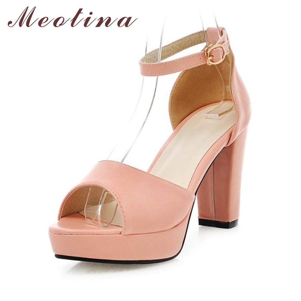 Meotina Shoes Women Sandals Summer Peep Toe Platform Ankle Strap Party Chunky High Heels Female Plain White Shoes Big Size 9 10 pink palms women summer new black silk platform shoes high heels peep toe ankle strap shoes gold star design sandals
