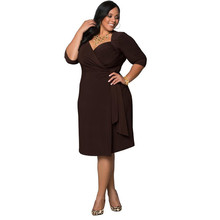 2017 summer fashion classic ladies half sleeve casual loose knee-length dresses for big women girls party dress plus size L-3XL(China)