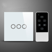 White Crystal Glass Remote Control Touch Wall Light Switch 3Gang1 Way With Blue LED Backlight Smart