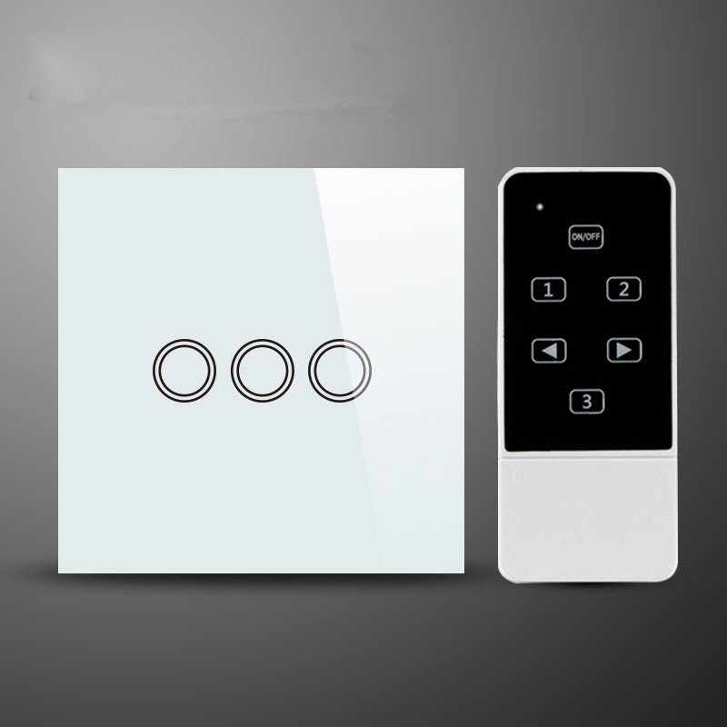 UK Standard White Crystal Glass Remote Control Touch 3 Gang1 Way Wall Light Switch and smart home touch switch newest 0 02w 1 way 3 gang crystal glass panel smart touch light wall switch remote controller white ac110v 240v black