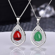 Natural Green Red Quartz Opal Stone Drop Pendants Fashion Chalcedony Water Droplets Form Necklace Pendant Jewelry