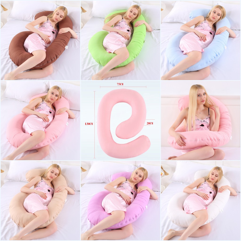 C Shape Sleeping Support Pillow For Pregnant PW23 Body Cotton Maternity Pillows Pregnancy Side Sleepers Pink Sky Blue Purple