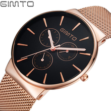 GIMTO Luxury Watch Men Full Steel Rose Gold Quartz Watch Military Casual Wristwatches Male Clock Reloj