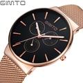 GIMTO Relógio de Homens De Aço Cheio de Luxo Rose Gold Quartz Watch Militar Casual Relógios de Pulso Relógio Reloj Hombre Relogio Masculino Montre