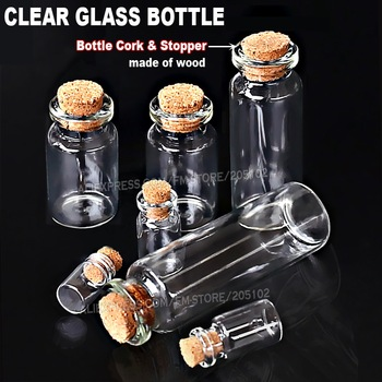 1-25ml Empty Clear Glass Bottles Jars Vial with Cork Stopper for DIY Wish Message Sample Perfume container Nail Art bead reagent