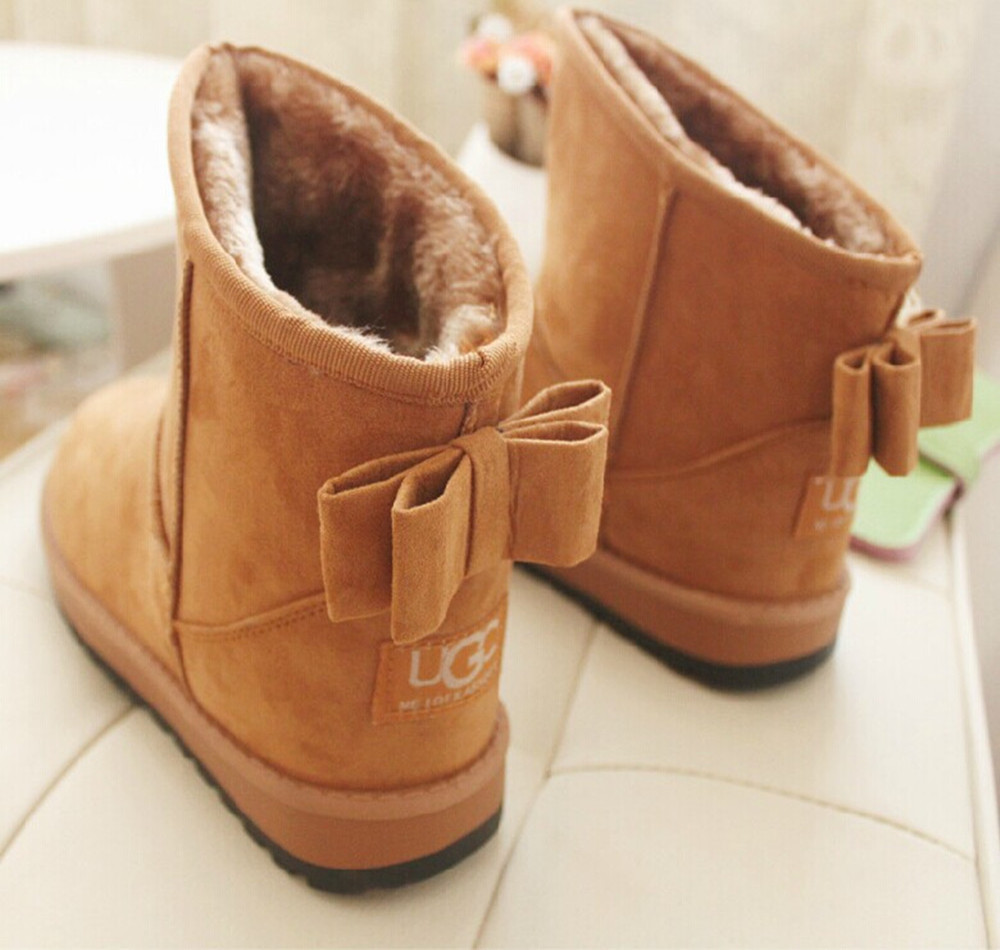 Brand Women Boots Fashion Winter Shoes Women Ankle Snow Boots Flock Warm Fur Short Boots Female Black warm women winter boots women ankle snow boots cowhide sweet flowers round the end of short barrels bread shoes mianxie