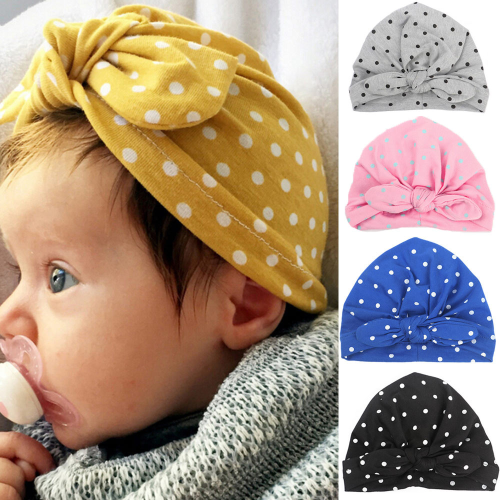 Baby Hat Wave Dot Bowknot Toddler Kids Winter Warm Cotton Soft Turban Knot Hat Stretchable Cap Bohemian Beanie BTTF ...